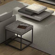 PETRA, Couchtisch Und Beistelltisch: Beton Aspekt Und Stahl, Ohne Konkrete    Entworfen Von IN ES MARTINHO