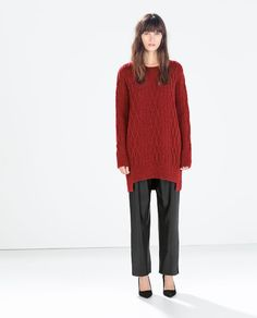ZARA - SALE - ASYMMETRIC HEM CABLEKNIT SWEATER