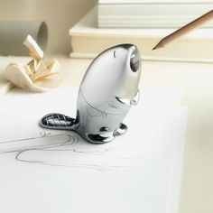 Designed by Italian label Alessi this wood chewing beaver pencil sharpener provides a fun spin on your traditional pencil sharpener design-and is much more effective than having a real beaver do it.Doubling as a paper weight, the chrome-plated piece was presented at the 2013 Maison