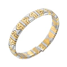 "Estate Bulgari Small 18k Gold & Steel ""Parentesi"" Bangle Bracelet"