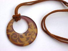EARTHY- Donut Pendant on Adjustable Leather