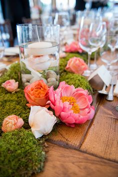 Organic centerpieces made with peonies and moss | @snapgirls | Brides.com