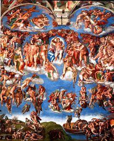 """Miras al frente y luego hacia arriba y comparas y admiras...y sabes que has visto la obra de un genio...pero los murmullos de la multitud no te deja disfrutarlo!!!:(  """"Juicio Final"""". Capilla Sixtina, El Vaticano"""