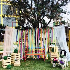Beautiful backdrops garden party for photo booth.