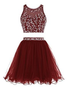 Tideclothes Short Beading Prom Dress Two Pieces Tulle Homecoming Dress Burgundy US2