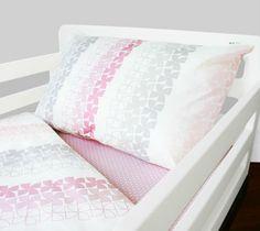 Gray, pink and white toddler bedding. (Ollie & Lime - Logan Toddler Bedding.)