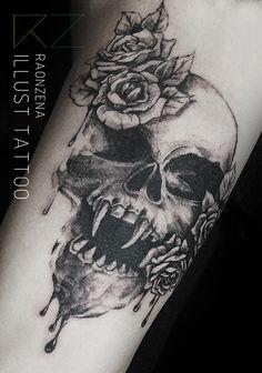 skull rose tattoo by. RAONZENA tattoo www.raonzena.co.kr