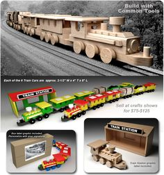 Vintage 1955 Wood Toy Train Play Set