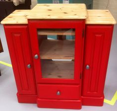 One of my recent projects at work. A honied pine Ducal hifi unit sanded, primed and custom mixed Tomato Red paint. The entire unit then waxed and buffed.