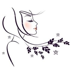 Vector illustration of Beauty floral woman Easy Drawings, Pencil Drawings, Pebble Painting, Simple Art, Minimalist Art, Face Art, Drawing Sketches, Painted Rocks, Vector Art