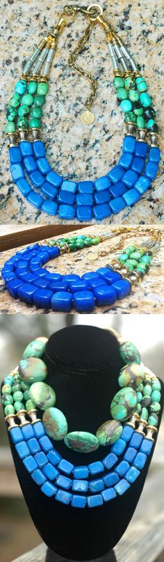 Stunning Green Turquoise, Blue Jade, Gold and Silver Statement Necklace