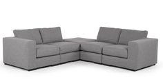 Maximiere die Platznutzung in deinem Wohnzimmer mit dem stilvollen modularen Ecksofa Mortimer.
