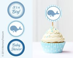 Whale Baby Shower Cupcake Toppers Printable Baby Shower Cup Cake Toppers Cupcake…