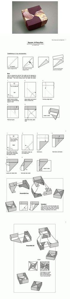 DIY Squae, 4-piece box, origami #DIY