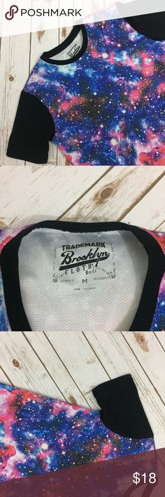 Trademark Brooklyn Cloth MFG Co Galaxy Raglan Tee Trademark Brooklyn Cloth MFG Co. Galaxy Print raglan style short sleeve tee. Jersey mesh style material. Excellent Used Condition. Urban Outfitters Shirts Tees - Short Sleeve