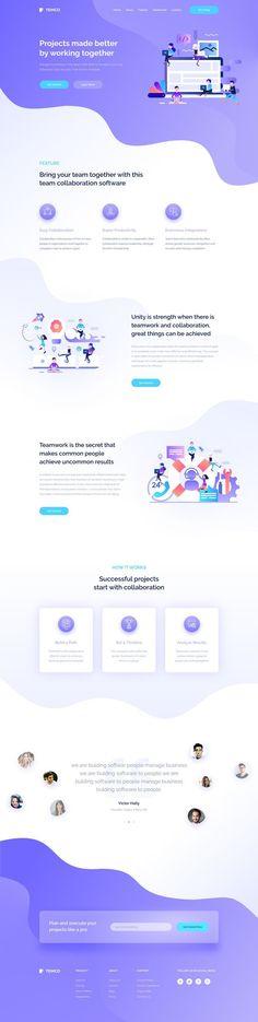 Dribbble - team_collaboration_landing_page.jpg by simantOo Design Sites, Homepage Design, Web Design Tips, Flat Design, Design Design, Sites Layout, Web Layout, Layouts, Website Design Inspiration