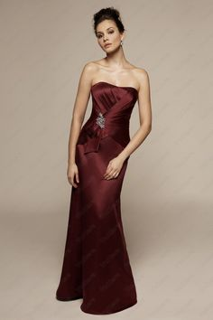 Satin Modified Sweetheart Neckline Long Prom Dress