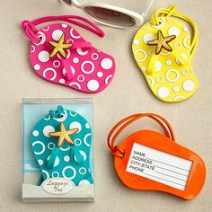Colorful Unique Flip Flop Luggage Tags (Set of 4 in Blue, Yellow, Pink and Orange) Cinderella's Slipper,http://www.amazon.com/dp/B00FD1HQ6M/ref=cm_sw_r_pi_dp_Z8SFsb0Q0C3R9PQ7  Unique stocking stuffer idea - spot your luggage easily with these flip flop luggage tags!