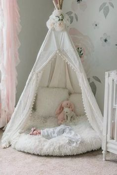 The Eleanor Lace Teepee is a unique teepee with gorgeous lace doors with a hint . - The Eleanor Lace Teepee is a unique teepee with gorgeous lace doors with a hint of sequins layered - Baby Bedroom, Baby Room Decor, Nursery Room Ideas, Diy Girl Nursery Decor, Baby Room Diy, Girl Bedroom Designs, Girls Bedroom Decorating, Girls Room Design, Girls Bedroom Furniture