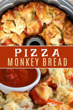 This easy Pizza Monkey Bread is stuffed with pepperoni, mozzarella cheese, and garlic all in a Bundt pan. If you love pizza, you'll love this pull-apart pizza made with refrigerated crescent rolls. all about pizza Healthy Pizza Recipes, Appetizer Recipes, Cooking Recipes, Pizza Appetizers, Cooking Pork, Pizza Snacks, Cooking Kale, Cooking Fish, Cooking Turkey