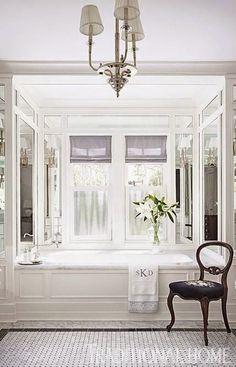 Dream Bathrooms, Beautiful Bathrooms, Glamorous Bathroom, White Bathrooms, House Color Schemes, House Colors, Bathroom Interior Design, Home Interior, Interior Colors