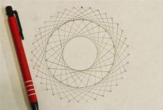 String art - How to Create Concentric Circles, Ellipses, Cardioids & More Using Straight Lines & Circles – String art Line Design Pattern, Circle Math, Ephemeral Art, Math Crafts, Art Optical, Math Art, Paper Embroidery, You Draw, Straight Lines