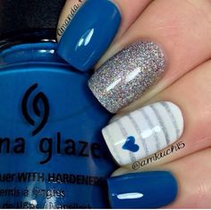 Blue sliver nails