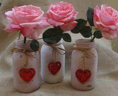 Valentines Day Painted Mason Jar on Etsy, $16.00