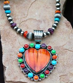 Navajo Solid Sterling Silver Pendant with Sleeping Beauty Turquoise Red Coral, Spiny Oyster Shell