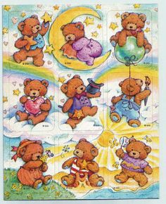 Stickers Vintage 2 sheets Gibson Teddy Bears Playing in clouds & on Beach A1-30 #Hallmark #Stickers