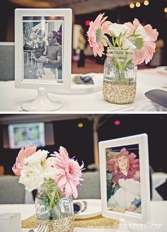 Gold glitter dipped mason jars [for flowers, silverwear, etc - maybe do plastic cups to drink from and gold dip, or pink glitter dipped]