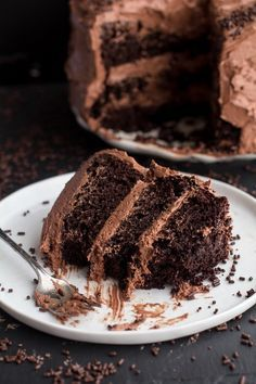 Simple Chocolate Birthday Cake with Whipped Chocolate Buttercream. - Half Baked Harvest A decadent a delicious chocolate cake Tasty Chocolate Cake, Chocolate Buttercream, Chocolate Desserts, Buttercream Frosting, Extreme Chocolate Cake, Chocolate Ganache, Food Cakes, Cupcake Cakes, Cake Recipes