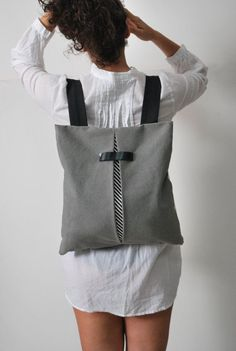 Convertible city backpack Crossbody bag Gray by misirlouHandmade