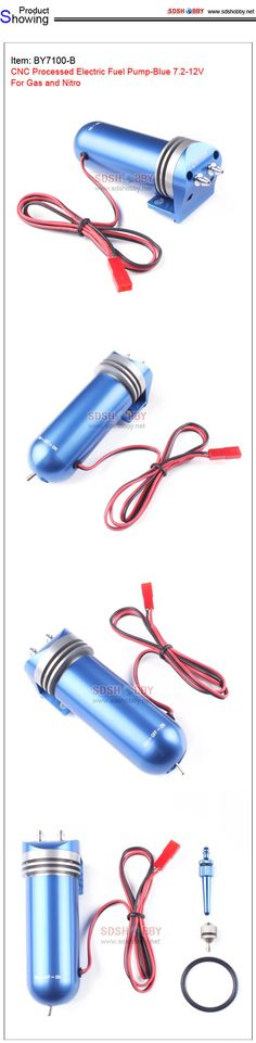 CNC Processed Electric Fuel Pump-Blue 7.2-12V For Gas and Nitro