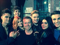The director and the cast for the Shadowhunters TV show. I'm so surprised Harry Shum looks good in this role, but very happily surprised