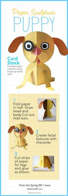 Paper Sculpture Puppy © RADkidsART.com