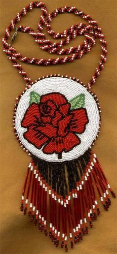 Bead Embroidery and Applique Red Rose Medallion Beadwork Photo submitted by Rita Handy