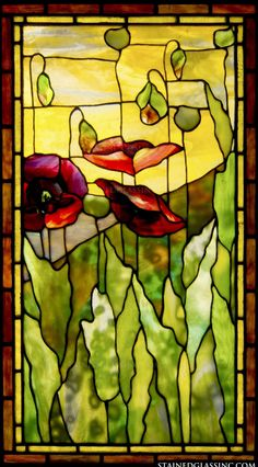 """Poppies Tiffany"" Stained Glass Window #StainedGlassChurch"