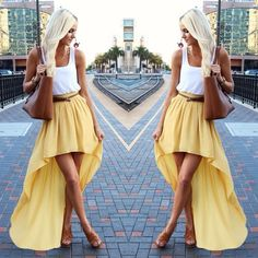 Yellow high low skirt  White top