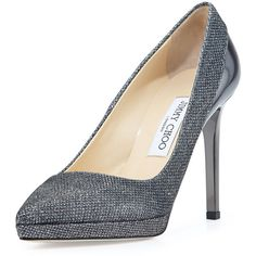 Jimmy Choo Rudy Glitter Fabric Platform Pump (1,090 CAD) ❤ liked on Polyvore featuring shoes, pumps, heels, grey, glitter platform pumps, heels & pumps, leather pumps, high heel pumps and high heel platform pumps