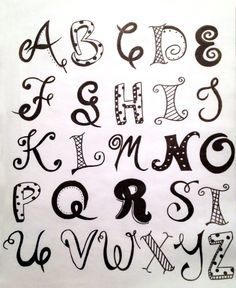 Hand lettering alphabet, cool lettering, types of lettering, doodle alphabe Doodle Fonts, Doodle Lettering, Creative Lettering, Types Of Lettering, Lettering Styles, Hand Lettering Alphabet, Calligraphy Letters, Caligraphy, Doodle Alphabet