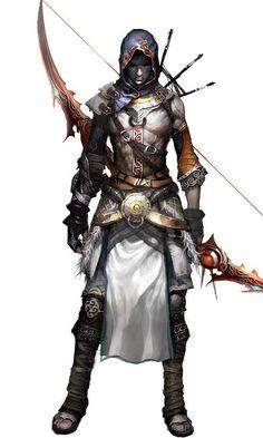 human, half-elf, elf, drow elf, air genasi, archer, ranger