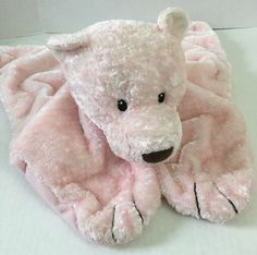 Pink Bear Security Blanket * Baby Gund * Lovey * Plush * Silky Paws * Baby * #GUND