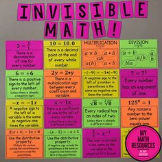 Invisible Math Posters by My Math Resources are MUST HAVE posters for any or grade Math Classroom! These are the ORIGINAL Invisible Math Posters – don't be fooled b… 9th Grade Math, Ninth Grade, Seventh Grade, Math Classroom Decorations, Maths Classroom Displays, Classroom Ideas, Middle School Classroom, Grade 8 Classroom, Math Posters Middle School