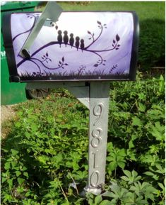 Painted mailbox, cute mailbox, custom mailbox, mailbox designs, yard, landscape ideas, Iamchiriga