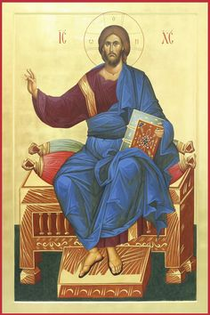 Jesus Christ holding the Holy Scriptures which are closed to show that Judgement Day has come. Byzantine Art, Byzantine Icons, Religious Icons, Religious Art, Christ Pantocrator, Church Icon, Roman Church, Images Of Christ, Russian Icons