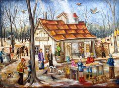 Titre: Le rire du printemps Dimension: 30X40 Amazing Paintings, Z Arts, All Nature, Country Art, Winter Art, Folk, Canadian Artists, Art Plastique, Art World