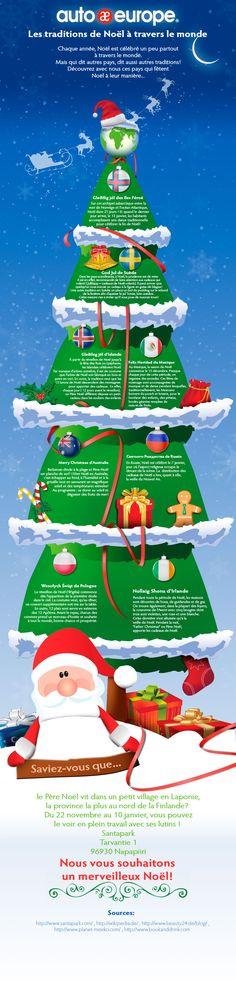 Infographie : Les traditions de Noël à travers le monde - Pour consulter plus d'infographies, cliquez ici : http://www.autoeurope.fr/go/infographie/