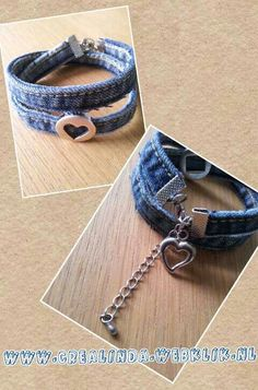 Recycled jeans bracelet – by Crealinda Recycled jeans bracelet – by Crealinda Related posts: Recycled+Denim+Jewelry Denim Bracelet, Denim Earrings, Jean Crafts, Denim Crafts, Denim Armband, Jewelry Crafts, Handmade Jewelry, Denim Art, Old Jeans