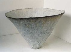 Ceramics by Deirdre Burnett at Studiopottery.co.uk - Oxidised stoneware, handbuilt floor-standing bowl form. Inside laminated porcelain giving variegated white silken surface. Diameter 58cms.
